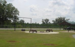 Picnic tables at the Deep Creek Community Center